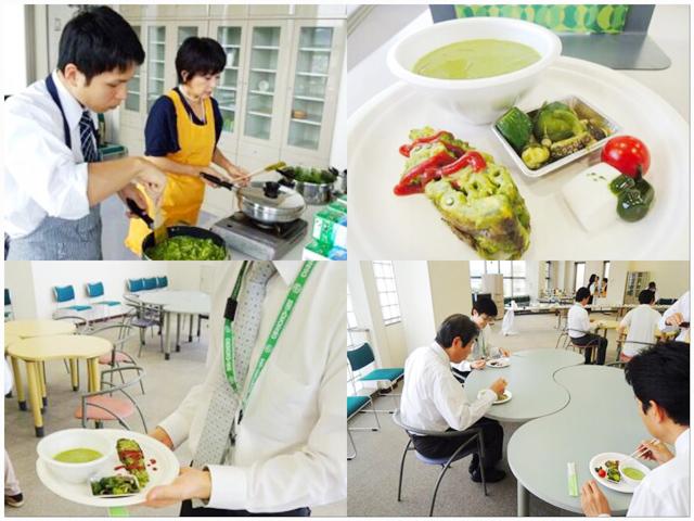 クロレラパウダーを使った料理の社内試食会の様子。これによりクロレラの美味しさを多くの社員が知ることになり、商品化が決定した。